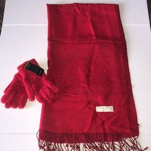 Red Pashmina and Red Gloves